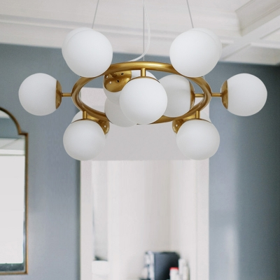 Lateral Chandelier Pyramid White Globe