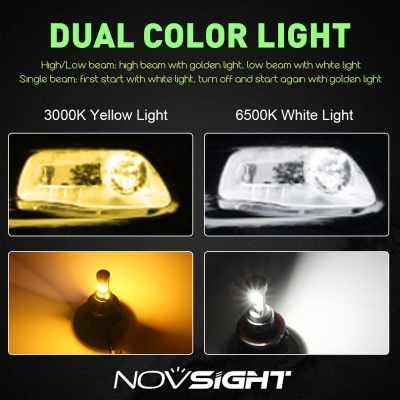 A359 Car LED Headlight Bulbs H13 40W 8000LM 3000K Yellow& 6500K White LUXEON ZES LED, Pack of 2