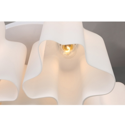 Octuple Floral Frosted Blown White Glass Semi-Flush Mount Light