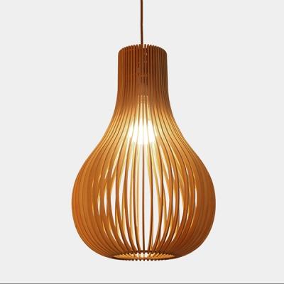 Fashion Wooden Pendant Light Hollow 15''H