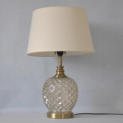 Classic Glass Base Table Lamp With Beige Shade 25 Height