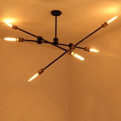 Industrial Semi Flush Mount Ceiling Light In Black Finish