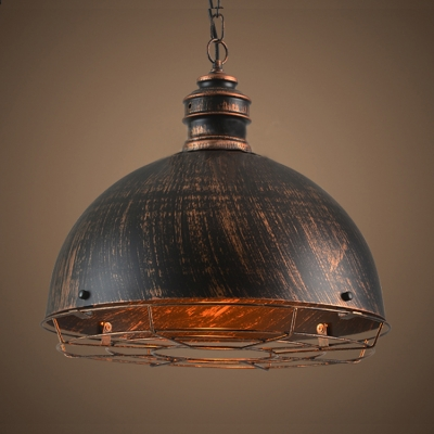 Industrial Pendant Lighting in Cage Style with Rust Dome Shade