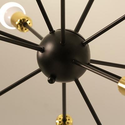 Industrial Vintage Semi Flush Mount with Black Finished Support Gold Socket, 12 Lights