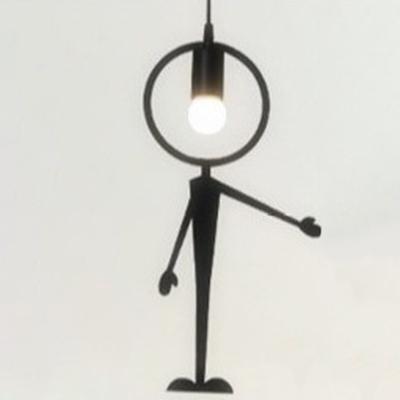 """Metal Man Led Hanging Pendant Light Black """"This Way"""""""