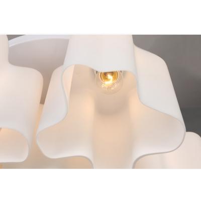 Quadruple Floral Frosted Blown White Glass Semi-Flush Mount Light