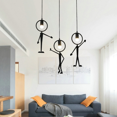 "Metal Man LED Hanging Pendant Light Black ""C'mon"""