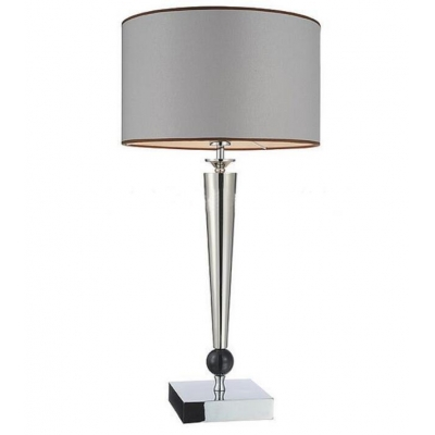 Modern Cone & Ball Style Column Table Lamp with Grey Drum Shade