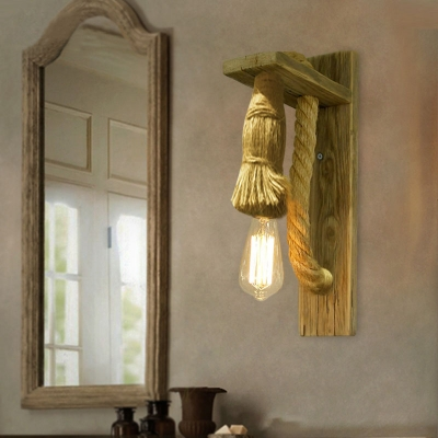 Vintage Style 1 Light Natural Rope Wall Sconce in Wood Finish ...