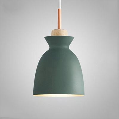 Bell Shade Wooden Pendant Light Minimal 7.5''