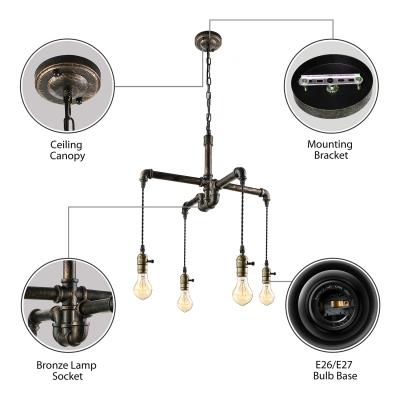 Antique Bronze Four Light Pipe LED Pendant Ceiling Lamp