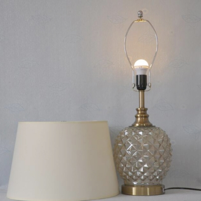 Classic Glass Base Table Lamp with Beige Shade, 25'' Height