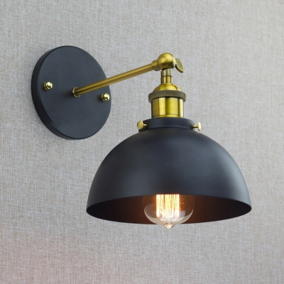 Industrial Wall Sconce Adjustable Dome Shade in Black