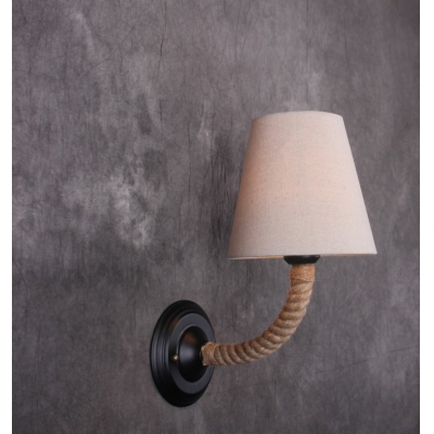 Vintage Rope Armed Industry Fabric Shaded LED Wall Lamp