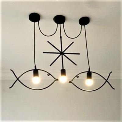 Fish LED Linear Pendant Iron, 3 Lights 31'' Width