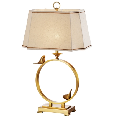 Golden circle birds accent table lamp with beige shade aloadofball Image collections