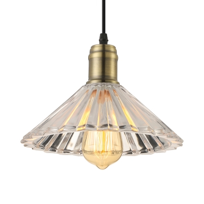Cone Ribbed Glass Shaded LED Mini Pendant for Dinning Room