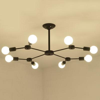 Industrial Semi Flush Ceiling Light with 8 Lights, Metal Lighting in Black