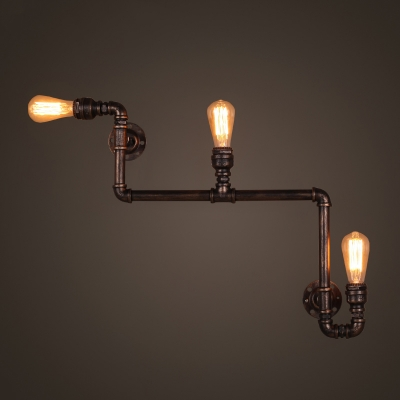 Industrial Vintage Wall Sconce with Bare Edison Bulb in Black Finish, 3 Lights