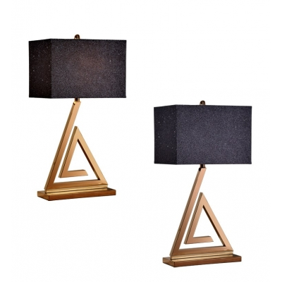 Contemporary Triangle Steel Base Table Lamp with Black Rectangle Shade