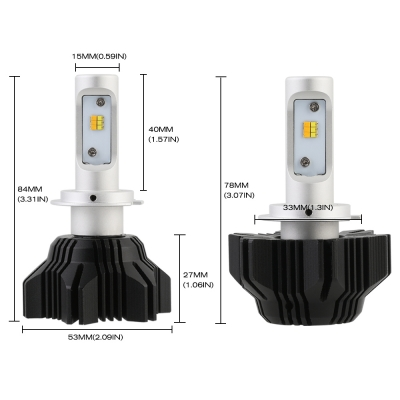 A359 Car LED Headlight Bulbs H7 50W 8000LM 3000K Yellow& 6500K White LUXEON ZES LED, Pack of 2