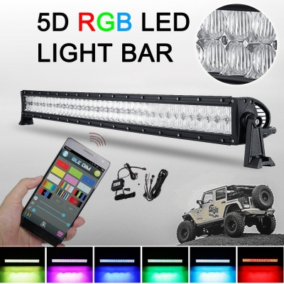 5D 42 Inch RGB Off Road LED Car Light Bar CREE 240W Flood And Spot Combo Beam For Off Road, Truck, SUV, BOAT, JEEP