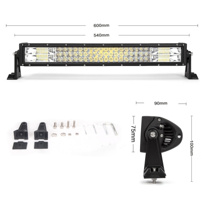 7D+ 22 Inch LED Work Light Bar 270W OSRAM Tri-Row Spot Flood Combo for Offroad 4x4 Jeep Truck ATV SUV 4WD Pickup Boat