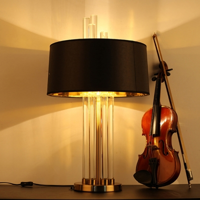 Modern Glass Rod Table Lamp with Black Drum Shade Gold/Antique Copper Lamp Base