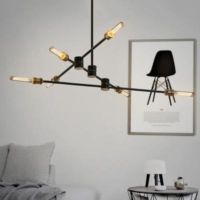 Industrial Semi-Flush Mount Ceiling Light in Black Finish with 6 Edison Bulbs, Light Branch Adjustable