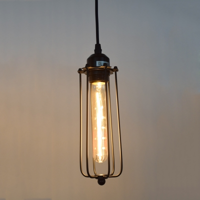 Single Light Slatted Hanging Pendant In Vintage Style