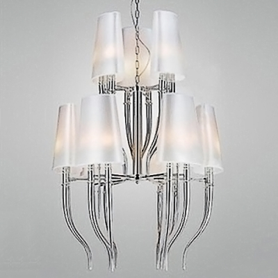 Modern Ox Shaped Chandelier with Black/White Shade, 2 Tiers 9 Lights