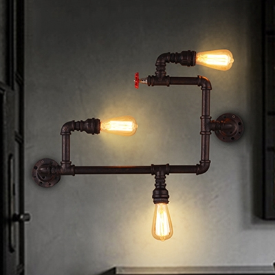 Industrial Wall Sconce in Water Pipe Style, Rust, 3 Lights