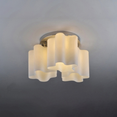 Triple Floral Frosted Blown White Glass Semi-Flush Mount Light