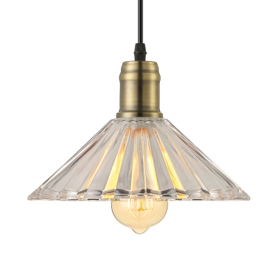 Cone Ribbed Glass Shaded LED Mini Pendant for Dining Room