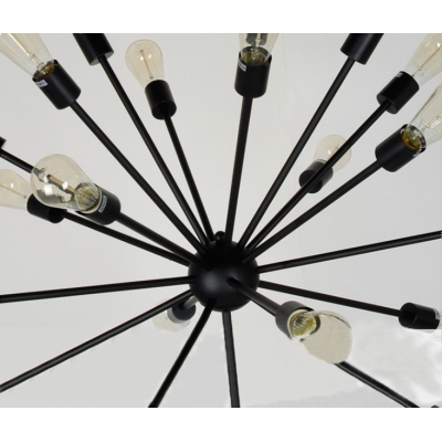 Contemporary Chandelier with Edison Bulbs in Wrought Iron Style