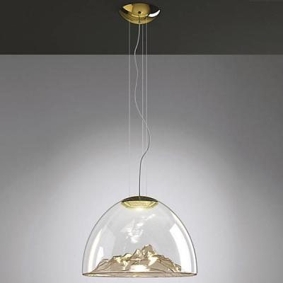 Glass Pendant Light Mountain Golden Blown 21.65''