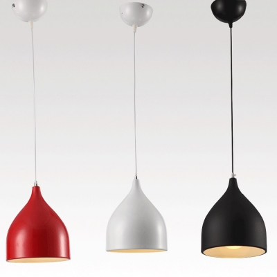 Modern Pendant Light with Teardrop Aluminum Shade, Black/White/Red
