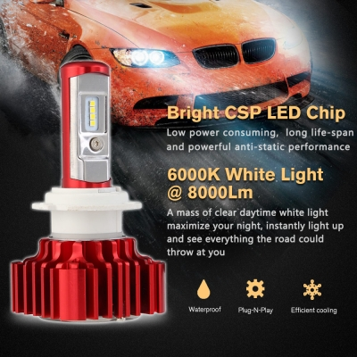 Nighteye A372 Car LED  Headlight Bulbs H7 60W 8000LM 6000K CSP LED, Pack of 2
