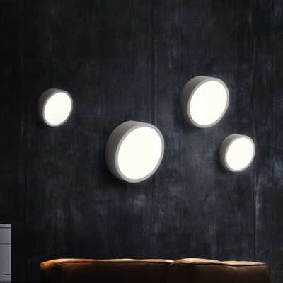 Contemporary Round LED Wall Light 16'' Width, Black/ White