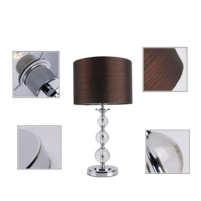 Contemporary stacked crystal table lamp with drum shade in brown contemporary stacked crystal table lamp with drum shade in brown fabric aloadofball Images