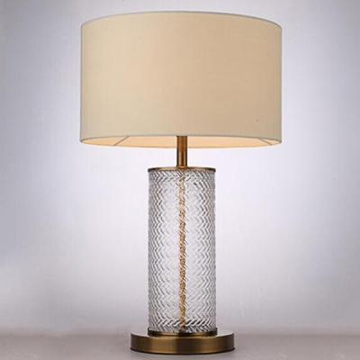 ... Ripple Glass Cylinder Table Lamp With Drum Fabric Shade In Beige ...