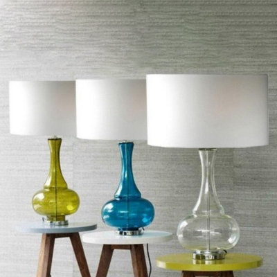 Glass Bottle Table Lamp with Multi-color Choice with Black/Beige Drum Shade