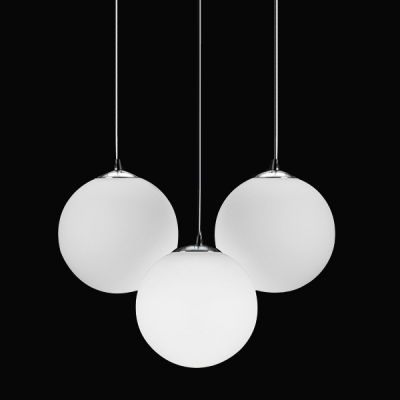 Frosted Glass Ball Pendant Light, 3 Lights