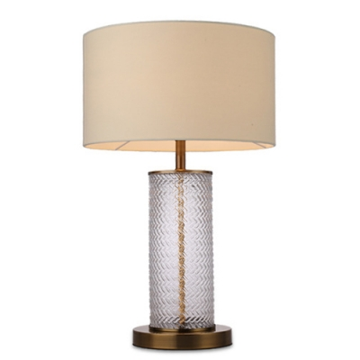 Ripple Gl Cylinder Table Lamp With Drum Fabric Shade In Beige