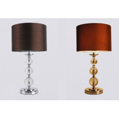 Contemporary Stacked Crystal Table Lamp with Drum  Shade in Brown Fabric