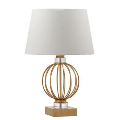 Contemporary Sphere Cage Table Lamp in Steel with Trapezoid Shade