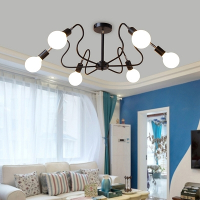 Industrial Wrought Iron Semi Flush Mount Ceiling Light with Exposed Edison Bulb, 6 Lights in Black Finsh