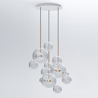 Globe Glass Multi-light Pendant Light Brass Stem - Globe Glass Multi-light Pendant Light Brass Stem - Beautifulhalo.com