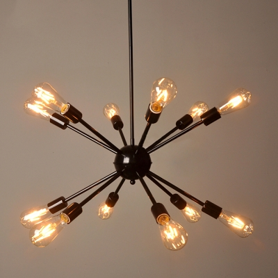 Edison Bulb Chandelier In Vintage Loft Style Black Finish 12 Lights