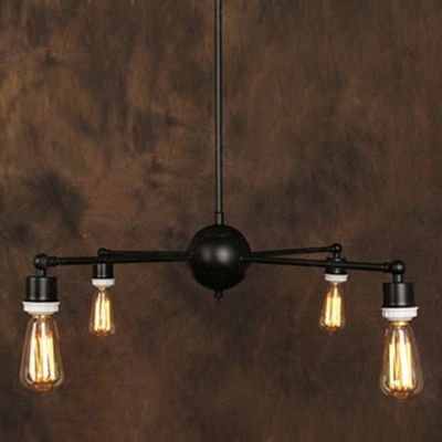 Retro Exposed Edison Bulb Style Chandelier Downlighting With 4 Lights